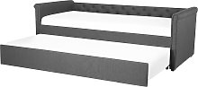 Modern Fabric EU Single Trundle Bed Frame 3ft Dark