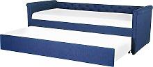 Modern Fabric EU Single Trundle Bed Frame 3ft Navy