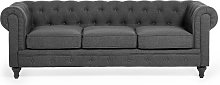 Modern Fabric Sofa 3 Seater Button Tufted Scroll