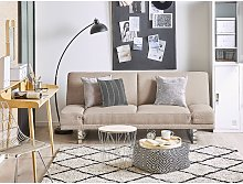Modern Fabric Sofa Bed Beige Polyester Reclining