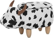 Modern Fabric Stool Black and White Upholstery