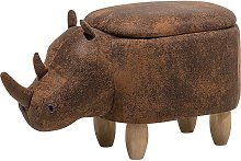 Modern Faux Leather Stool Brown Upholstery Storage