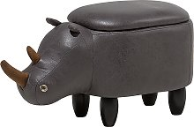 Modern Faux Leather Stool Dark Grey Upholstery