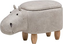 Modern Faux Leather Stool Light Grey Upholstery