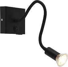 Modern flexible wall lamp USB black - Zeno
