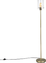 Modern floor lamp gold with glass - Dome