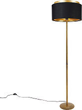 Modern floor lamp gold with shade black with gold