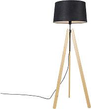 Modern floor lamp wood linen shade black 45 cm