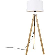 Modern floor lamp wood linen shade white 45 cm