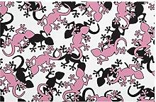 Modern Floor Mat Gecko Pink Black Indoor Area Rug
