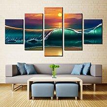 Modern Frameless Painting Five Canvas Art Wall