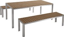 Modern Garden Dining Set Table with 2 Benches