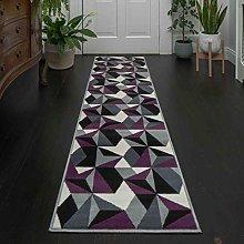 Modern Geometric Purple Grey Graphite Rug Thick