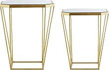Modern Geometric Set of 2 Tables Mirror Tabletop