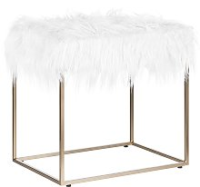 Modern Glam Footstool White Faux Fur Comfy Gold