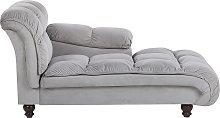 Modern Glam Velvet Chaise Lounge Grey Upholstery
