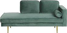 Modern Glam Velvet Chaise Lounge Mint Green