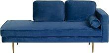 Modern Glam Velvet Chaise Lounge Navy Blue