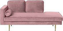 Modern Glam Velvet Chaise Lounge Pink Upholstery