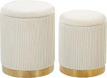 Modern Glamorous Set of 2 Storage Pouffes Velvet