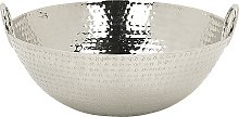 Modern Glamour Decorative Bowl with Handles Round Accent Piece Metal Silver Shibah