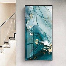 Modern green gold leaf canvas art fashion blue