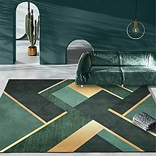 Modern Green Rug Simple Style Golden Geometric