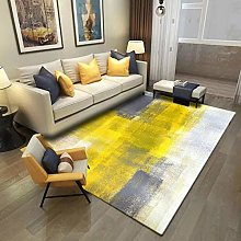 Modern Grey Yellow Abstarct Area Rug for Living