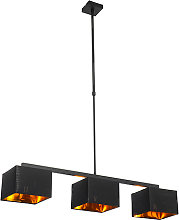 Modern hanging lamp black with gold 88 cm 3-light