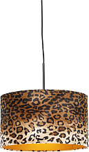 Modern hanging lamp black with shade leopard 35 cm