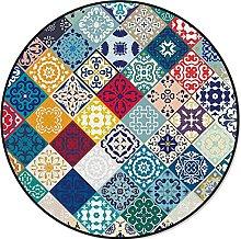 Modern Home Decorative Round Carpet Blue Multigrid