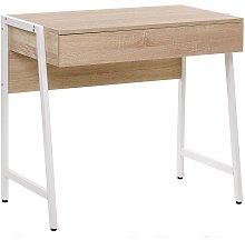 Modern Home Office Desk 1 Drawer Light Wood Top
