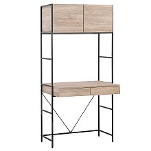 Modern Home Office Desk 2 Drawers Top Cabinet