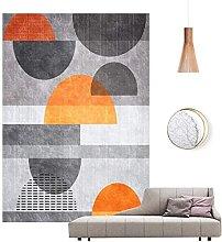 Modern Home Rug Chic Orange Geometric Semicircle
