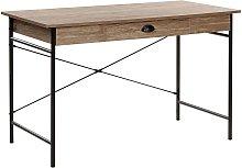 Modern Industrial Home Office Desk 1 Drawer Dark