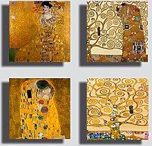 Modern KLIMT style paintings 4 pieces 40 x 40 cm