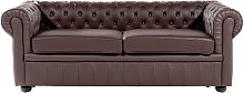 Modern Leather Sofa 3 Seater Button Tufted Scroll