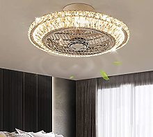 Modern LED Crystal Ceiling Fan Light Round Remote