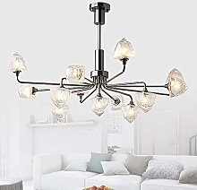 Modern LED Glass Chandelier Ice Cube Dining Room
