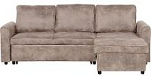 Modern Left Hand Faux Leather Corner Sofa Bed
