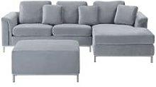 Modern Light Grey Velvet Sectional Sofa with