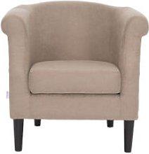 Modern Linen Tub Chair Armchair, Coffee