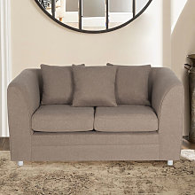 Modern Linen Upholstered 2 Seater Sofa, Coffee