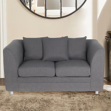 Modern Linen Upholstered 2 Seater Sofa, Grey