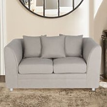 Modern Linen Upholstered 2 Seater Sofa, Light Grey