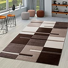 Modern Living Room Rug Brown/Beige/Cream Chequered