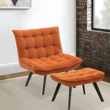 Modern Lounge Chair And Footstool Orange