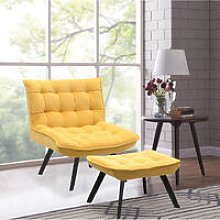 Modern Lounge Chair And Footstool Yellow