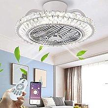 Modern Luxury Crystal Ceiling Fan Light Round