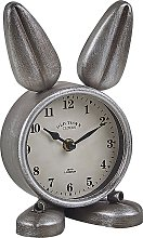 Modern Metal Bunny-Shaped Table Clock Silver Thusis